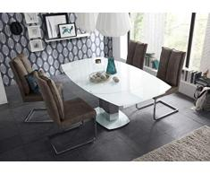 22173-5tlg Essgruppe ausziehbar Glas/Braun Esstisch Glastisch 4X Stühle