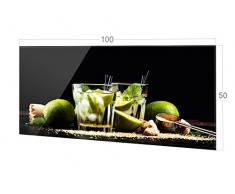GRAZDesign Nischenrückwand Schwarz - Küche Glasrückwand Cocktailbar - Küchenrückwand Glas Cocktail Caipirinha / 100x50cm