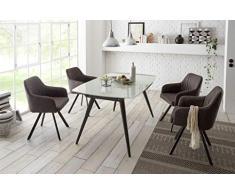22179-5tlg Essgruppe/Glas/Anhrazit Glastisch ausziehbar Esstisch Stühle