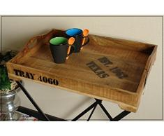 Rustikaler Tabletttisch aus Holz & Metall mit Aufdruck