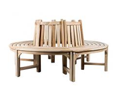 Trendy-Home24 Baumbank Rundbank Teakholz Holzbank Gartenbank Teakbank 180 cm Massivholz