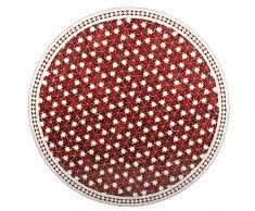 Marokkanischer Mosaiktisch ø 120cm rund Gartentisch Fliesentisch Esstisch mediterraner Mosaik - Tisch (Maar: rot/weiss)