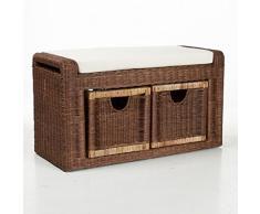 EMAN Möbelvertrieb Rattanbank Rattanbox mit Sitzkissen   Sitzbank Bank Rattan Kolonial 2X Schublade