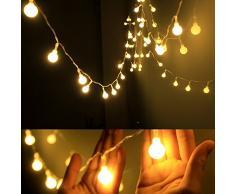 AOOKEY Lichterkette 10 Meter 80 LED Globe Lichterkette Warmweiß für Weihnachten, Hochzeit, Party, Zuhause sowie Garten, Balkon, Terrasse, Fenster, Treppe, Bar, etc