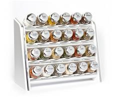 Gald Poland Hängendes/ stehendes Gewürzregal für 24 Gläser - silver line weiß, Deckel glänzend