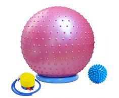 Massage Yoga Gymnastikball mit Stabilität Basis / Pump 65cm Eignung-Kugel Flexible Sitz verbessert die Balance Kernkraft Posture Ball Chair Secure Anti-Burst-Rutschhemmende Massagekugel,Rosa