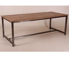 Casa Padrino Vintage Teak Esstisch Holzfarben mit Metallgestell - Landhaus Stil Tisch Teakholz, Tisch Abmessungen:200 x 100 cm x 78 cm H