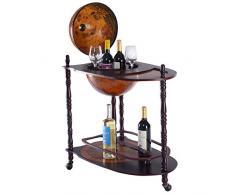 COSTWAY Globusbar Minibar Weltkugel Weinregal Flaschenregal Globus Bar Hausbar Cocktailbar Dekobar Tischbar, mit Rollen, mit Tischplatte