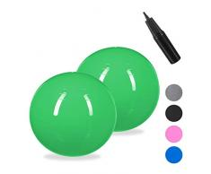 Relaxdays 2 x Gymnastikball, Fitnessball Yoga & Pilates, Sitzball Büro, Balance Ball inklusive Luftpumpe, Ø 55 cm, grün