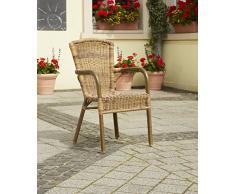 greemotion Rattan-Bistrostuhl Laos - Gartenstuhl braun in Bambus-Look - Rattanstuhl stapelbar, hohe Rückenlehne – Stapelstuhl aus Polyrattan-Geflecht - Outdoor-Stuhl für Garten, Terrasse & Balkon
