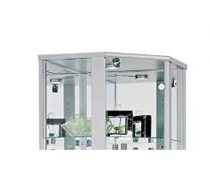 Glasvitrine Sammlervitrine Eckvitrine Vitrine LED beleuchtet Schloß Spiegel Weiss Schwarz Silber (Weiss)
