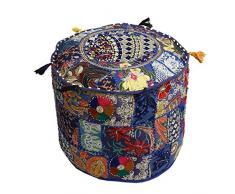 Icrafts India indischen Vintage-osmanischen Pouf, Patchwork osmanischen, Wohnzimmer Patchwork Fuß Hocker Cover, Deko handgefertigt Home Stuhl Abdeckung 35,6 x 55,9 x 55,9 cm violett