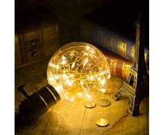 G95 Vintage Edison Glühbirne,KINGCOO E27 180LM Antike LED Leuchtmittel Birne Kupferdraht Globus Dekorative String Lichterkette Lampe für Weihnachten Home Party Hochzeit Bars (Warmweiß)