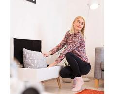 Relaxdays Sitzbank mit Stauraum, 40 L, gepolstert, Holzbeine, Truhenbank Kunstleder, HxBxT: 40 x 80 x 39,5 cm, weiß