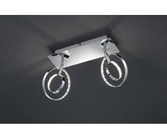 Reality Leuchten LED Wandleuchte Deckenleuchte Spot inklusive 2x 4 W SMD-LED mit An/Aus Schalter, Länge 30 cm, chrom R82702106