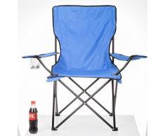 Angelstuhl Campingstuhl mit Fußstütze Camping Angelhocker Campinghocker - blau
