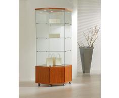 MHN Eckvitrine Glas abschließbar - große hohe Schrank Glasvitrine mit Beleuchtung rollbar kirschbaum 68 cm
