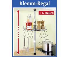 WENKO Teleskop-Rundregal - inl. 6 Haken - Küchenregal - Klemmregal - Regal für Küche - Ablage für Küchenhelfer