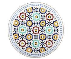 albena Marokko Galerie 15-147 Lisu Marokkanischer Mosaiktisch ø 80cm Rund (Lisu Weiss/Blau/Bunt)