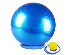 CHANG JIAER Gymnastikball mit Stabilität Basis/Pump 65cm Eignung-Kugel Flexible Sitz verbessert die Balance Kernkraft Posture Ball Chair Secure Anti-Burst-rutschfest-Kugel,Blau