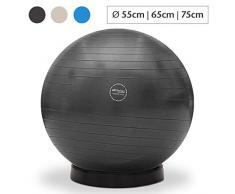 maxVitalis Gymnastikball inkl. Ballschale Fitnessball Sitzball Fitness Ball Yogaball Sportball Anti-Burst Gymnastikball Büroball 55 cm Schwarz