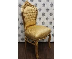 Casa Padrino Barock Esszimmer Stuhl Gold Muster/Gold - Antik Stil Barock Möbel
