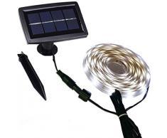 Solar Streifen lichtundurchlässig außen mit Wasser, Start/Stopp-Automatik-Modi 2, flexibel und Schneidetisch, Klebstoff, 5 m 150 LEDs hellen Band Treppe Dachfenster Terra (Color : White)