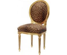 Casa Padrino Barock Esszimmer Stuhl Leopard / Gold Rund