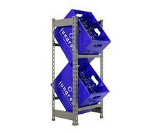 Getränkekistenregal 1000 x 410 x 300 mm, 2 Ebenen, 100 kg Tragkraft/Ebene, GRAU