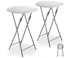 Casaria 2er Set Stehtisch Klappbar 60 x 110 cm Klapptisch Gartentisch Partytisch Bistrotisch Metall MDF Weiß Holz Optik