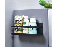 OIZEN Kühlschrank Regal Hängeregal für Kühlschrank Magnet Gewürzregal mit Ablage Küchenregal Küchen Organizer Aufbewahrung, Schwarz