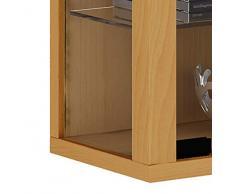 VCM 60445 Sammelvitrine Vindola L, Regal für die Wand aus Holz und Glas in Silber/Buche
