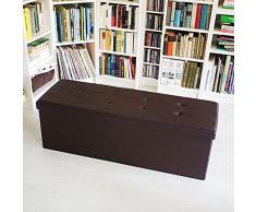 Relaxdays Faltbare Sitzbank HxBxT 38 x 114 x 38 cm, XL Kunstleder Sitztruhe, Aufbewahrungsbox mit Stauraum, braun