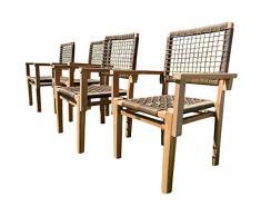 ASS 4Stück ECHT Teak Design Rattan Sessel Gartensessel Gartenstuhl Sessel Holzsessel Gartenmöbel Holz Modell: Rio-A von