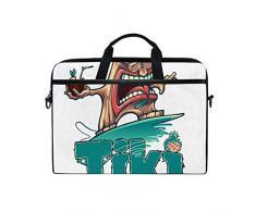 SIONOLY 15 15.4 inch Laptop Tasche,Tropische Cocktailbar Tiki Surfer,Neue tragbare Computer Messenger Satchel Aktentasche Arbeit Umhängetaschen 15 15.4