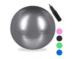 Relaxdays Unisex – Erwachsene Gymnastikball, Fitnessball Yoga & Pilates, Sitzball Büro, Balance Ball inklusive Luftpumpe, Ø 85 cm, silber, 1 Stück