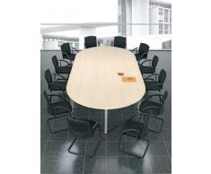 Konferenztisch Rundfuß, Ovalform, 240x90cm, Ahorn Silber