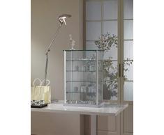 MHN kleine Aufsatzvitrine Glas - Tischvitrine Alu abschließbar grau 40 cm breit 25 cm tief