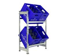 Getränkekistenregal 1000 x 810 x 300 mm, 2 Ebenen, 100 kg Tragkraft/Ebene, VERZINKT
