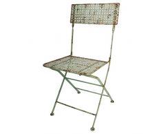 linoows Gartenstuhl, Stuhl im Industriedesign, Retro Balkonstuhl, Bistro Stuhl aus Eisen