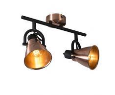 QAZQA Design/Modern Klassischer Spot/Spotlight/Deckenspot/Deckenstrahler/Strahler/Lampe/Leuchte Kupfer - Jos 2-flammig/Innenbeleuchtung/Wohnzimmerlampe/Schlafzimmer/Küche Metall L
