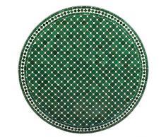 albena Marokko Galerie 15-130 Hamra Marokkanischer Mosaiktisch ø 100cm Rund (Hamra: grün/Weiss)