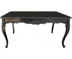Casa Padrino Barock Esstisch Schwarz mit Glasplatte 200 x 100 cm - Esszimmer Tisch - Limited Edition