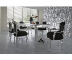 Casa Padrino Barock Esszimmer Set Schwarz/Silber/Silber - Esstisch + 6 Stühle