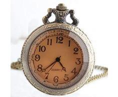Huaib Taschenuhr Große Taschen-Uhr Steampunk Bronze Glas Teetisch Strickjacke-Kette Halskette der Frau zum Mann Shi Yinghuai Uhr