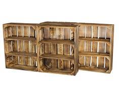 4er Set Regalkiste Flach mit 3 Fächern in Geflammt - Flambiertes Kistenregal als Gewürzregal 50x40,5x16cm