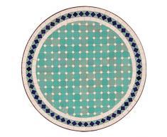 albena Marokko Galerie 15-143 Fero Marokkanischer Mosaiktisch 60 cm rund (Fero: türkis/weiss/blau)