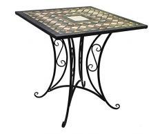 Wohaga® Mosaik Gartentisch 70x70cm Mosaiktisch Beistelltisch Bistrotisch Balkontisch Eisen Keramik