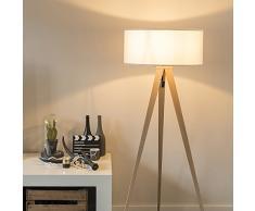 QAZQA Modern Moderne Stehleuchte/Stehlampe/Standleuchte/Lampe/Leuchte Holz mit weißem Schirm - Kutteln/Innenbeleuchtung/Wohnzimmerlampe/Schlafzimmer Textil/Stahl Länglich LED geeignet E
