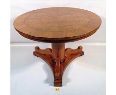 Antiker kleiner Empire Biedermeier Tisch Süddeutsch um 1820. Beistelltisch Teetisch Kirschbaum Maserbirke furniert. Mit Vollsäule und dreipassiger Sockelplatte, Wohnzimmer Schlafzimmer Flur Esszimmer
